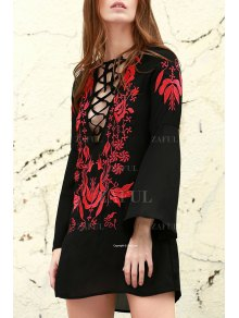 Floral Embroidered Plunging Neck Long Sleeve Dress - Black