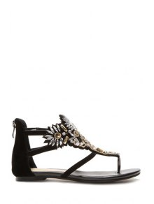 Buy Rhinestone Thong Black Sandals