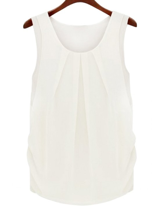 Solid Color Scoop Neck Sleeveless Blouse - WHITE M Mobile