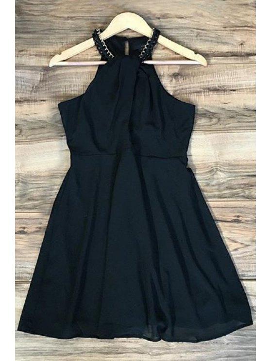 Robe noire en mousseline de soie Halter - Noir XL