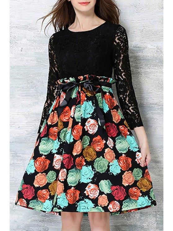 sale Crochet Flower Printed Dress - BLACK XL