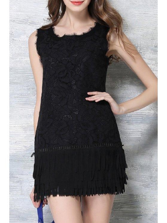 Vestido de encaje Negro flor del ganchillo con flecos - Negro XL