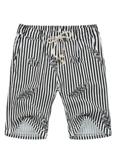 Stripe Lace Up Feather Printed Fifth Pants Beach Loose Shorts For Men - Black Xl
