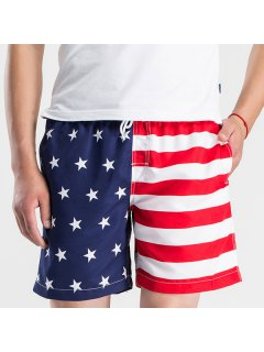 Straight Leg Drawstring Hit Color Splicing Stars Print Men's Board Shorts - Red With White Xl