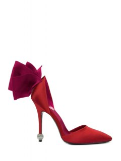 Bow Two-Piece Pointed Toe Pumps - Red 37
