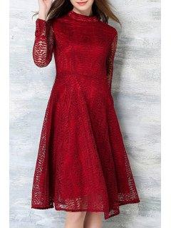 Mock Neck Leaf Pattern Lace Swing Dress - Red Xl