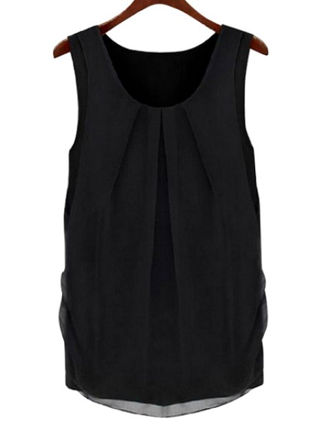 hot Solid Color Scoop Neck Sleeveless Blouse - BLACK S Mobile