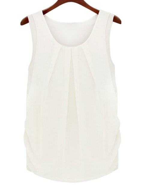 lady Solid Color Scoop Neck Sleeveless Blouse - WHITE S Mobile