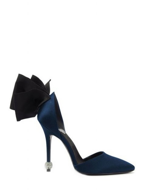 Bow Two-Piece Pointed Toe Pumps - Bleu 38 Mobile