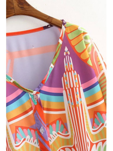 sale Eagle Pattern V Neck Half Sleeve Dress - JACINTH S Mobile