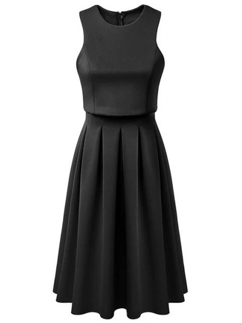 online Pleated Round Neck Sleeveless Dress - BLACK L Mobile