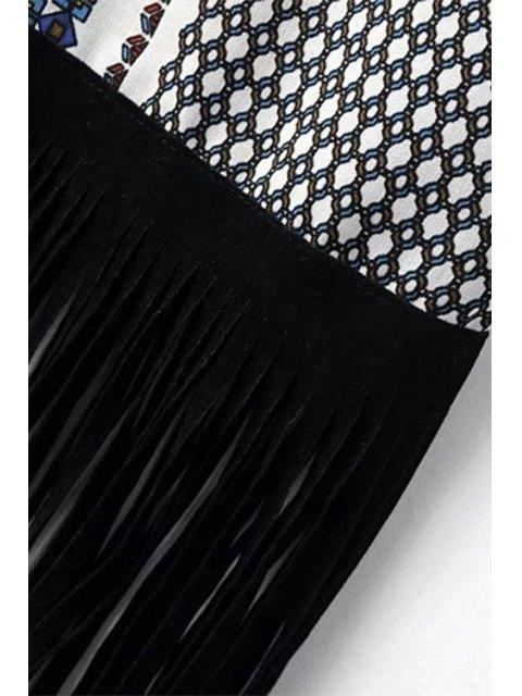 fashion Tassels Print Round Neck Long Sleeve Dress - BLACK L Mobile