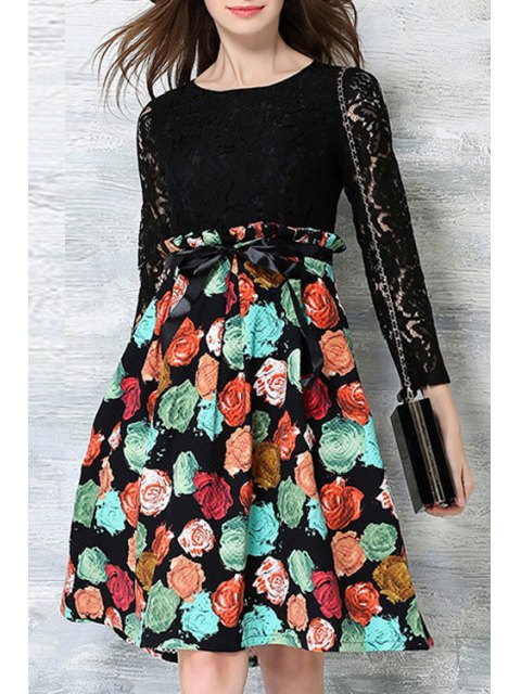 sale Crochet Flower Printed Dress - BLACK XL Mobile