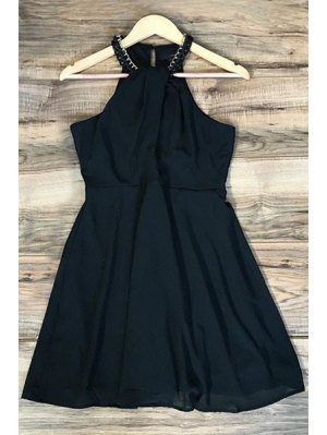 Black Sleeveless Chiffon Dress - Black