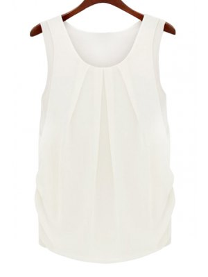 Solid Color Scoop Neck Sleeveless Blouse - White