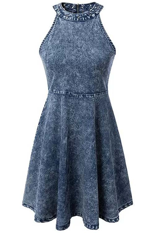 Round Neck Sleeveless Snowflakes Denim Dress