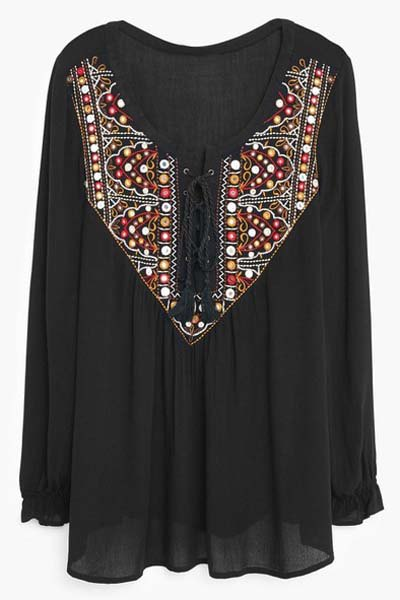 Lace Up Scoop Neck Long Sleeve Embroidery Blouse