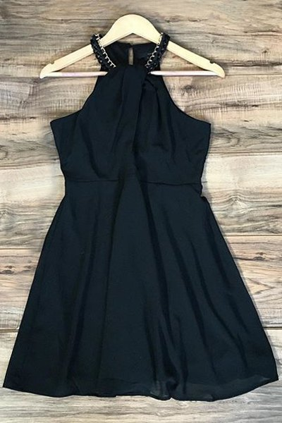 Black Sleeveless Chiffon DressClothes<br><br><br>Size: XL<br>Color: BLACK