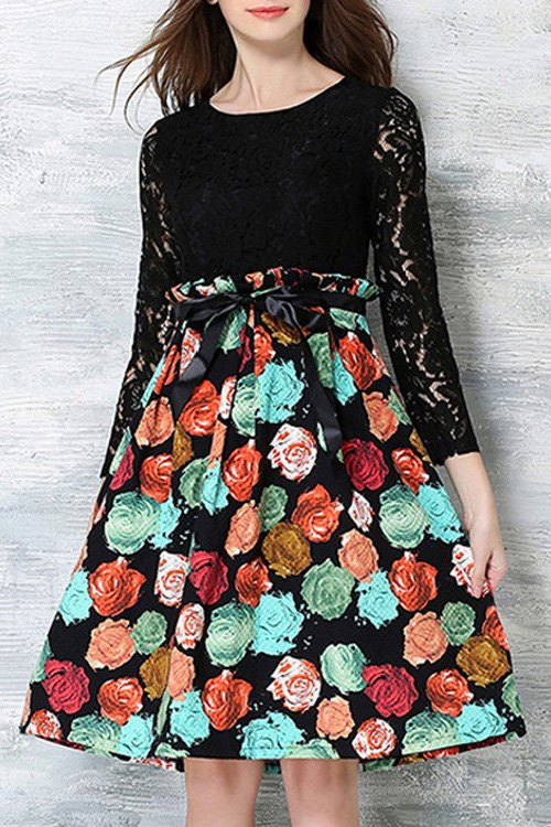 Long Sleeve Crochet Flower Printed Dress