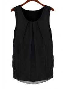 Solid Color Scoop Neck Sleeveless Blouse - Black