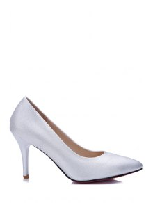Buy Solid Color Stiletto Heel Pointed Toe Pumps - SILVER WHITE 39