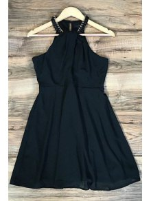 Black Sleeveless Chiffon Dress - Black L