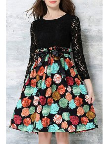 Crochet Flower Printed Dress