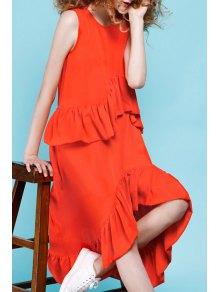 Frilled Asymmetrical Midi Dress - Jacinth S