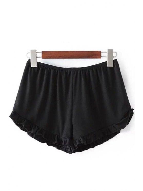 Shorts Monocromático Aseado con Cintura Elática - Negro Un tamaño(Montar tam