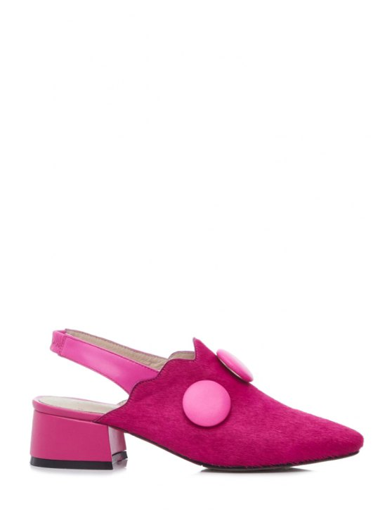 Button Solid Color Slingback Pumps - ROSE 38 Mobile
