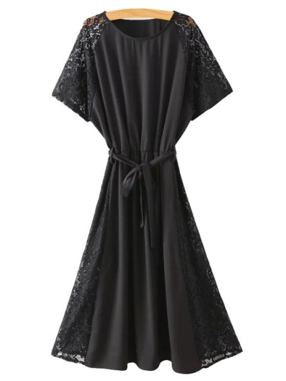 women's Lace Spliced Round Collar Short Sleeve Belted Dress - BLACK M
