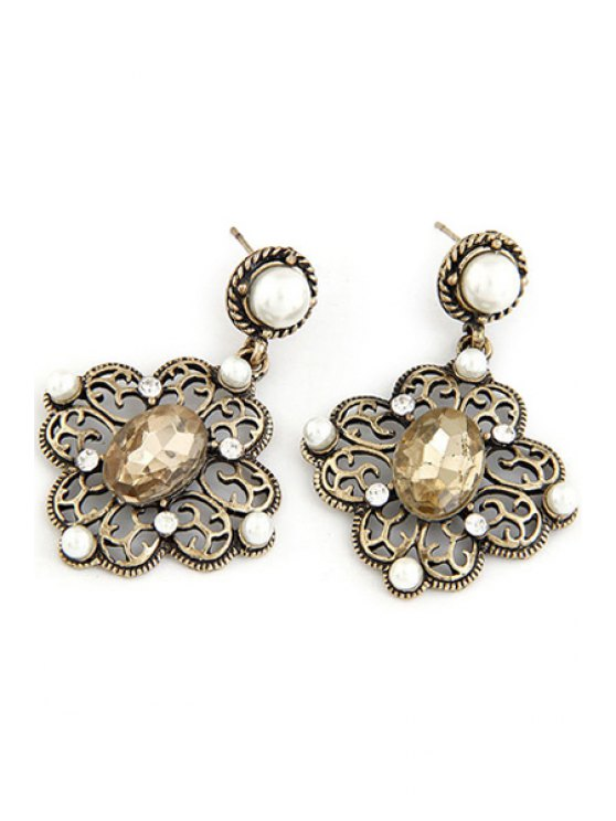 unique Faux Pearl Hollow Out Flower Earrings - CHAMPAGNE GOLD