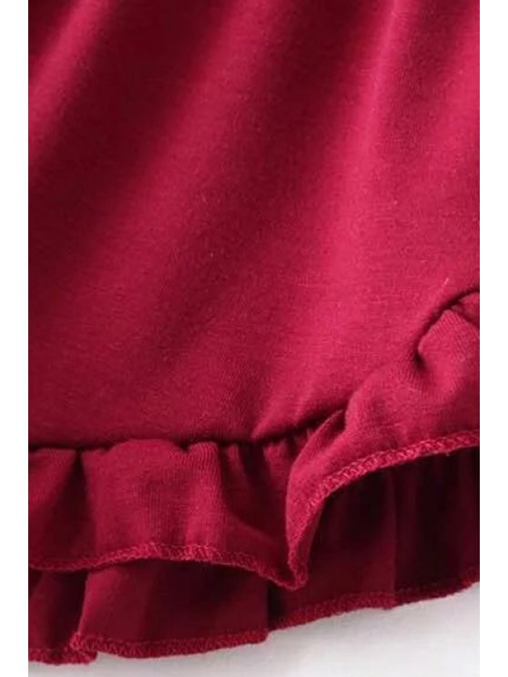 Solid Color Trimming Elastic Waist Shorts - RED ONE SIZE(FIT SIZE XS TO M) Mobile