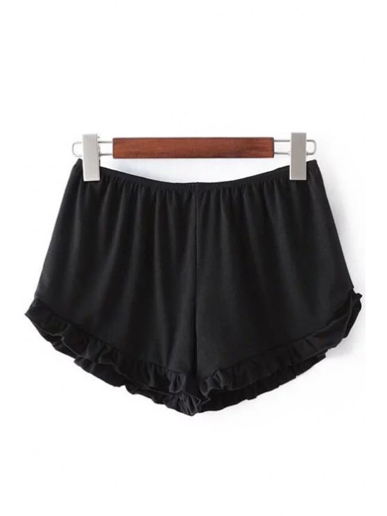 Solid Color Trimming Elastic Waist Shorts - BLACK ONE SIZE(FIT SIZE XS TO M) Mobile