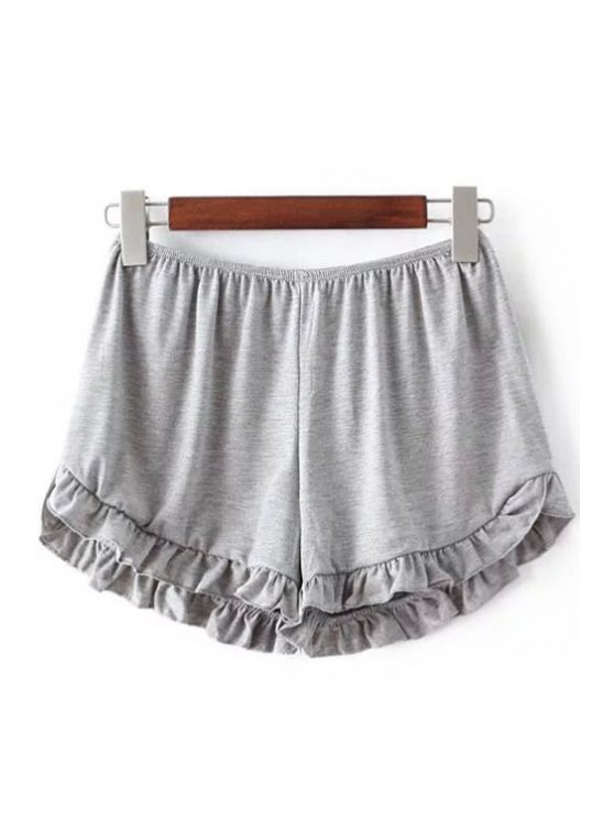 Solid Color Trimming Elastic Waist Shorts - LIGHT GRAY ONE SIZE(FIT SIZE XS TO M) Mobile