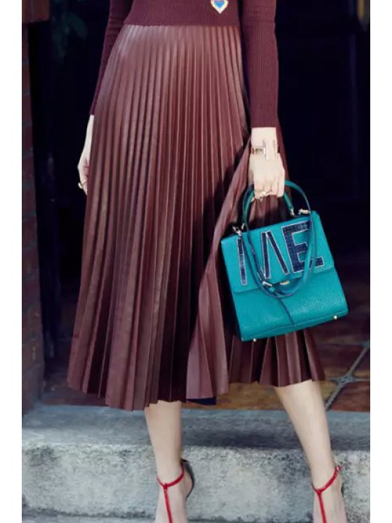 Cuero de la PU de cintura alta falda plisada - Púrpura S