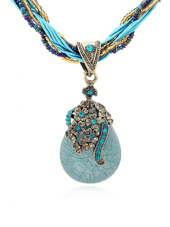 Bohemia Water Drop Flower Pendant Necklace - BLUE  Mobile