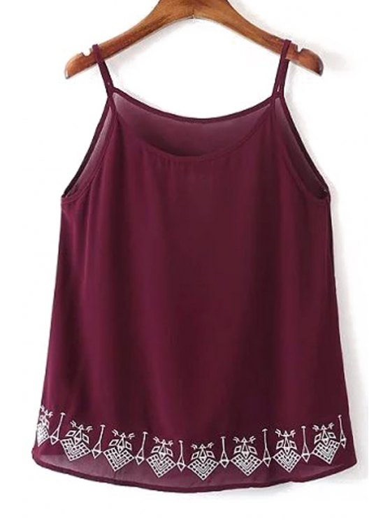 Embroidery Spaghetti Straps Tank Top - WINE RED M Mobile