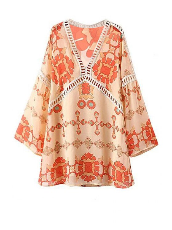 Printed V-Neck Long Sleeve Lacework Splicing Dress - WARM WHITE LIGHT L Mobile