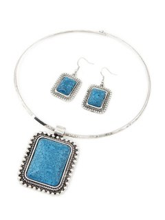 Retro Rectangle Turquoise Necklace And Earrings - Blue