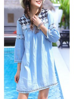 Embroidery Round Collar 3/4 Sleeve Dress - Light Blue M