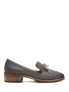 Bow Solid Color Square Toe Flat Shoes - Gray 37