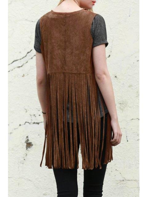 latest Wild West Suede Fringe Vest - CAMEL M Mobile