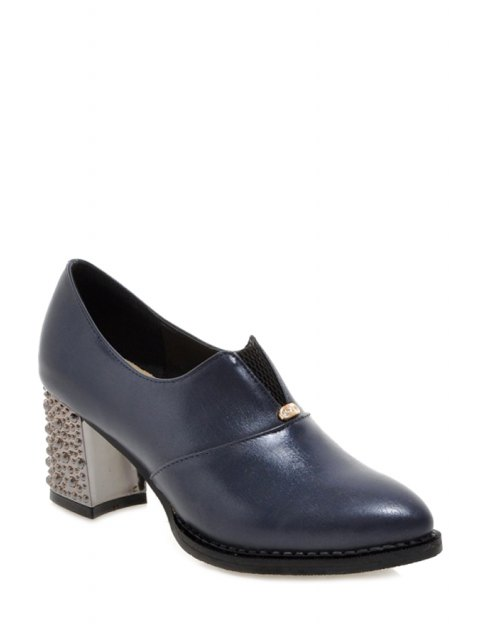 shop Elastic Solid Color Chunky Heel Pumps - BLUE 39 Mobile