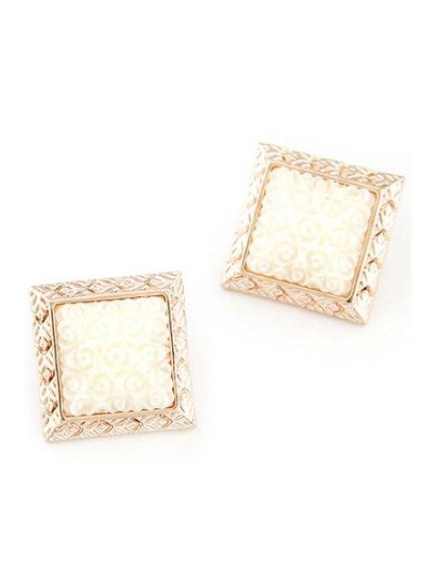 Sculpture Boucles d'oreilles Faux Gemstone carrés - Blanc  Mobile