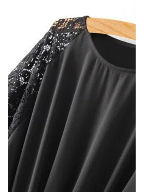 ladies Lace Spliced Round Collar Short Sleeve Belted Dress - BLACK L Mobile