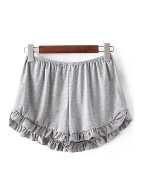 sale Solid Color Trimming Elastic Waist Shorts - LIGHT GRAY ONE SIZE(FIT SIZE XS TO M) Mobile