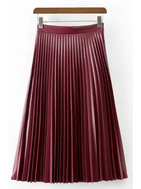 lady PU Leather High Waisted Pleated Skirt - PURPLE S Mobile