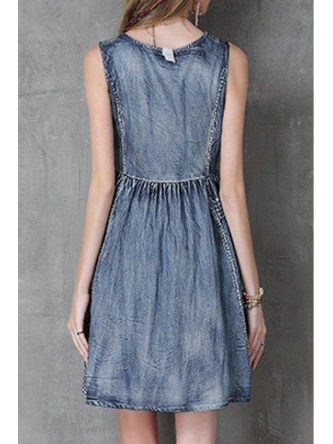 best Floral Embroidery Jewel Neck Denim Sundress - BLUE L Mobile