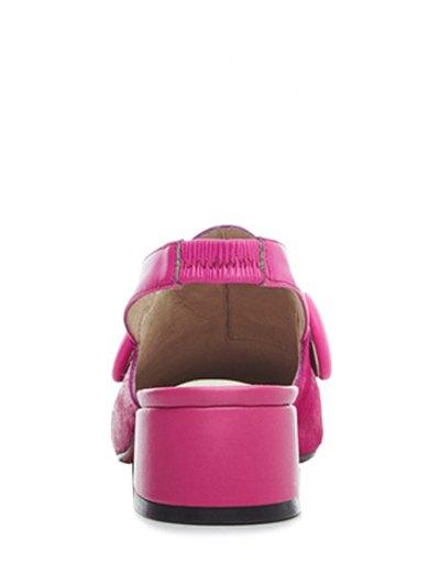 Button Solid Color Slingback Pumps - ROSE 38 Mobile